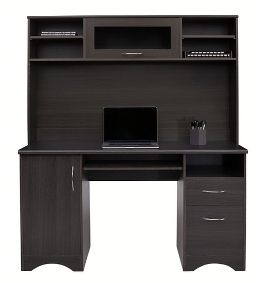 "Realspace Pelingo 56""W Desk with 64""H Hutch (Dark Gray)"