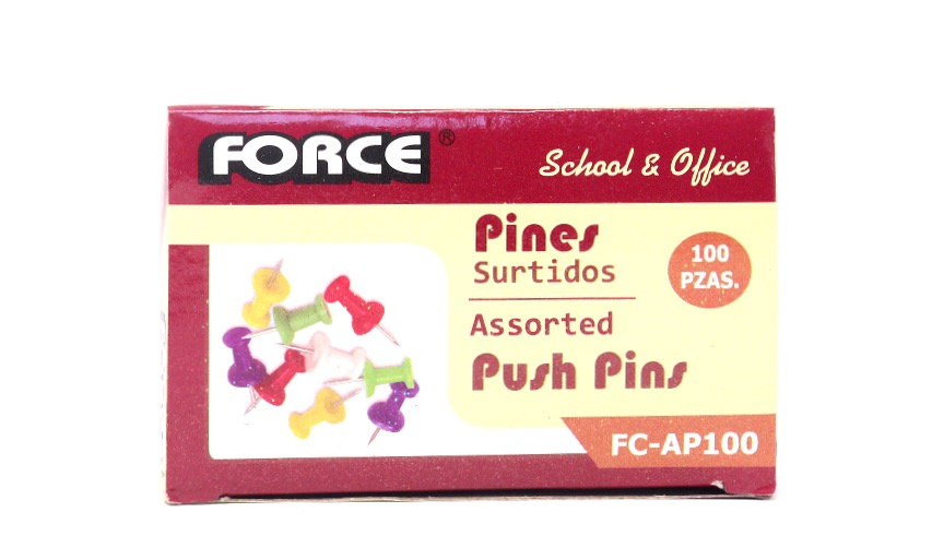 Force Assorted Push Pins (pack of 100)