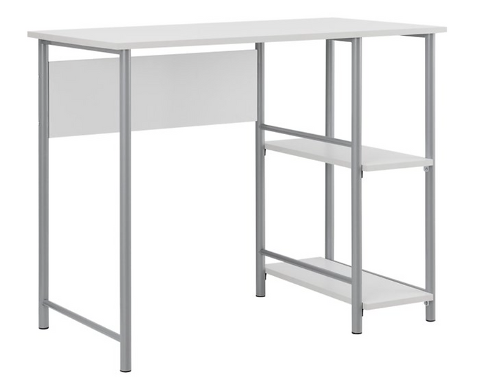 Mainstays Basic Metal Student Computer Desk (Silver with White)