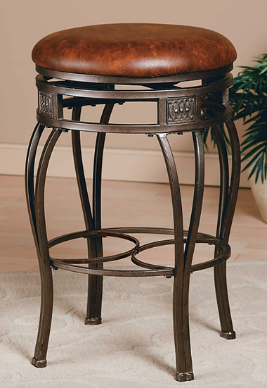 Montello Backless Swivel Counter Stool| Old Steel Finish w/ Brown Faux Leather