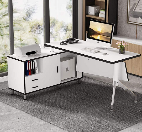 Tribesigns L-Shaped Executive Desk with File Cabinet