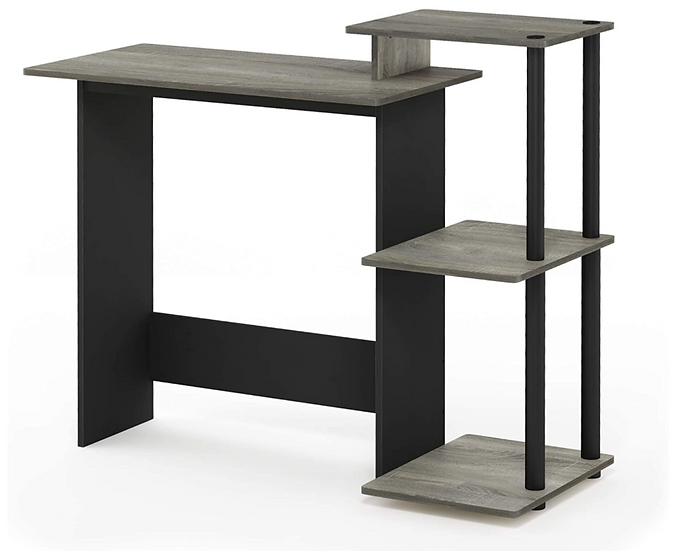 Furinno Home Laptop/Computer Desk with Square Side Shelves (French Oak Grey)