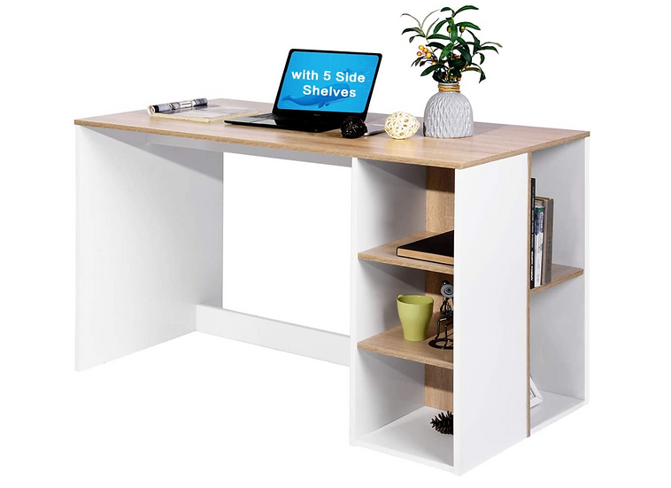 """DHHX 48"""" Computer/ Writing Desk with Storage (Oak White)"""