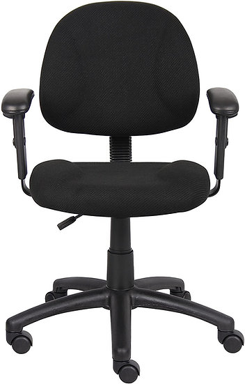 Boss Perfect Posture Delux Fabric Task Chair with Adjustable Arms in Black
