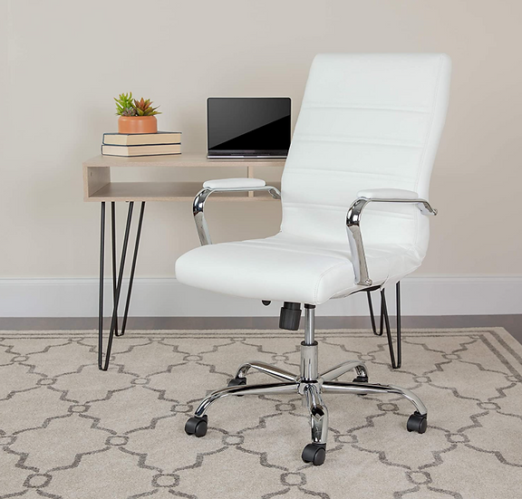 Flash White LeatherSoft Office Chair