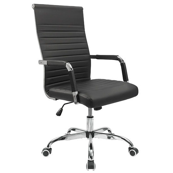 Renda Mid-Back Ribbed Conference Chair -Black
