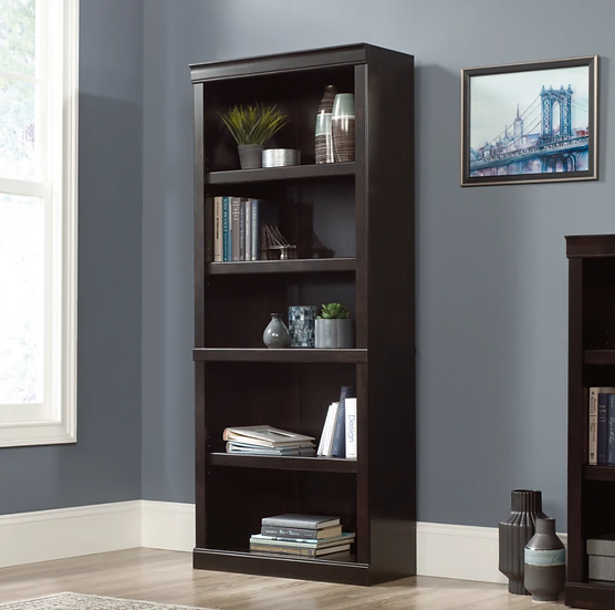 "Realspace 72""H 5 Shelf Bookcase (Peppered Black)"