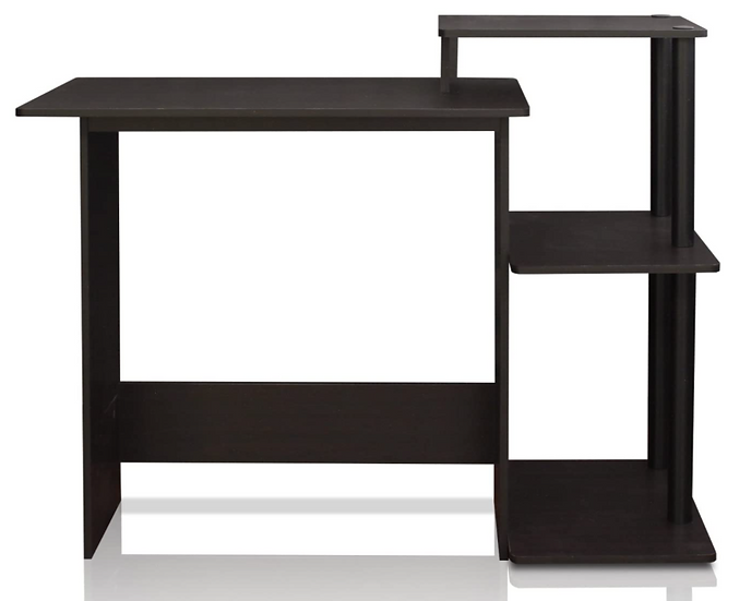 Furinno Home Laptop Computer Desk with Square Side Shelves (black/espresso)