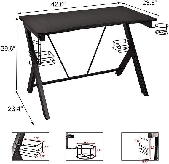 GIODIR Gaming Desk,  with Speaker Stands, Cup Holder, Cable Management, Black
