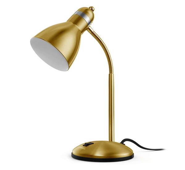 Metal Gold Corded Goose Neck Desk Lamp