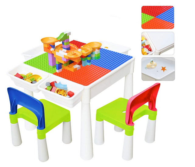Children's 3-in-1 Activity Table Set with Storage Boxes