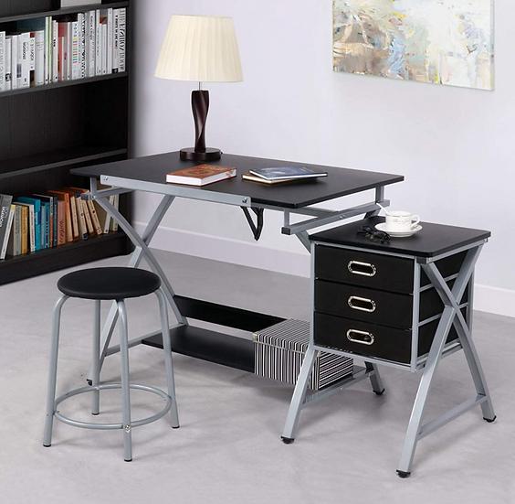 Adjustable Tabletop Versatile Craft Workstation w/ Stool and 3 Storage Drawers