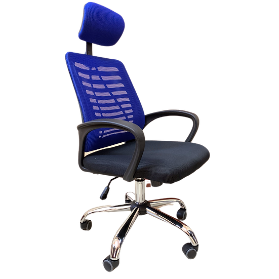 SIT Manager Mesh Back Chair with Headrest (Blue)