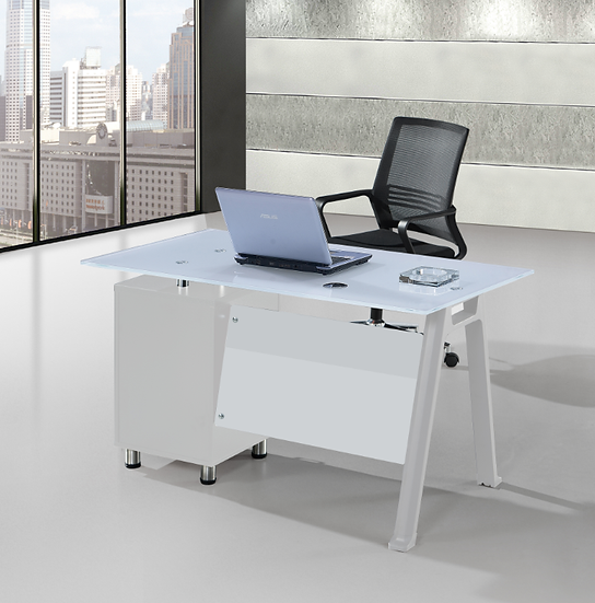 SIT Office Glass Computer Desk with Cabinet - White