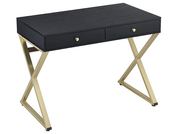 "Acme Coleen 42""W Desk, (Black & Brass)"