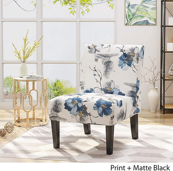 Christopher Knight  Kendal Traditional Fabric Accent Chair, Print, Matte Black