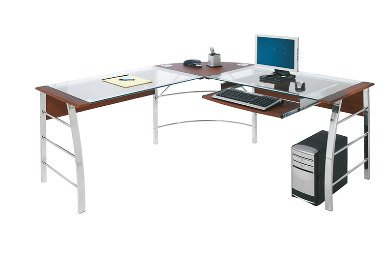Realspace Mezza L-Shaped Desk Cherry