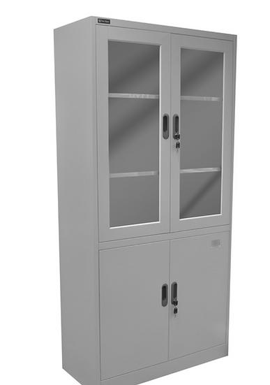 Danmayer 5 Shelf Cabinet w/ Glass and Swing Doors (Grey)