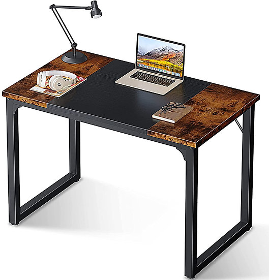 Coleshome 39'' Computer Desk  Black and Rustic Brown
