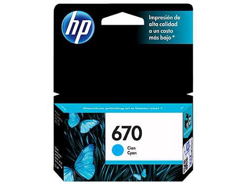 HP 670 Cyan Ink Cartridge