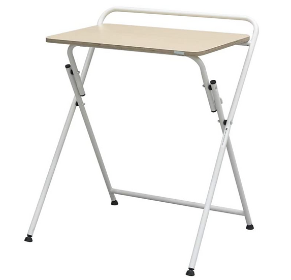 Modern Folding Laptop/Writing Desk w/ Industrial Metal Frame (Oak/White)