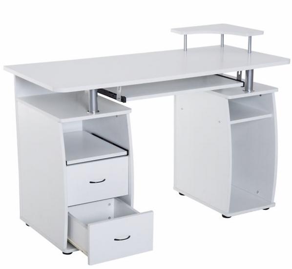 HomCom White Computer Desk