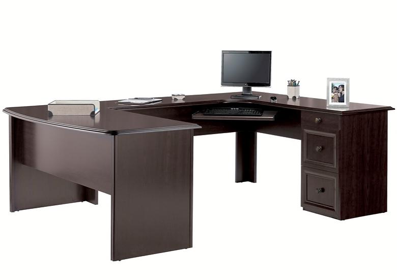 "Realspace Broadstreet 65""W U-Shaped Desk (Walnut)"