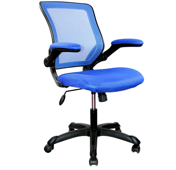 Techni Mobili Mesh Task Chair w/ Flip Up Arms (Blue)