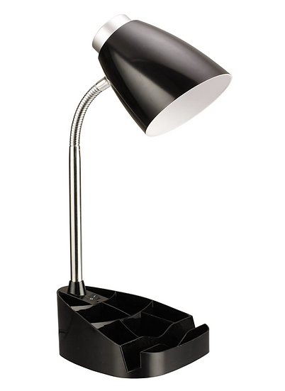 Limelight Gooseneck Desk Lamp with Organizer (Black)
