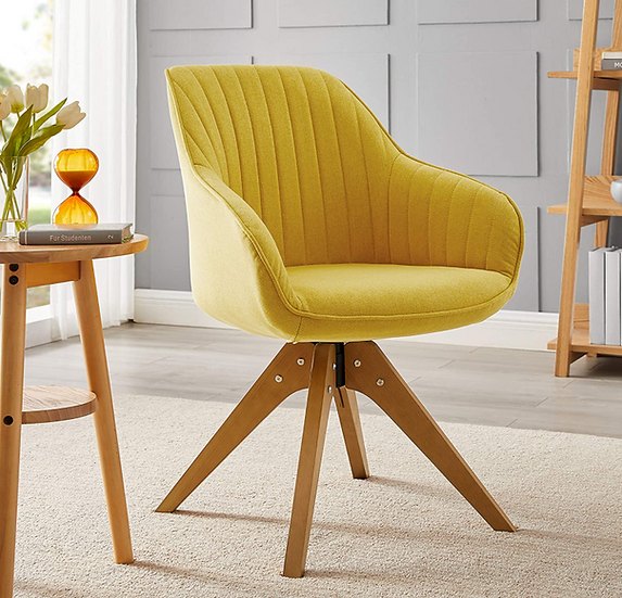 Mid Century Modern Swivel Accent Chair with Wooden Legs (Medium Yellow)
