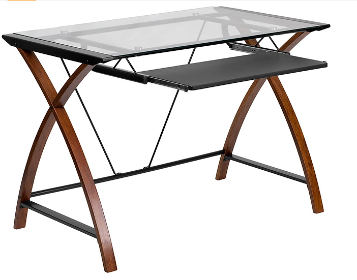 Flash Furniture Glass Computer Desk with Pullout Tray