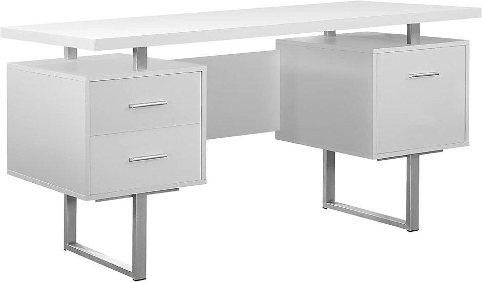 """Monarch Specialties Retro-Style 60""""W Computer Desk, White"""