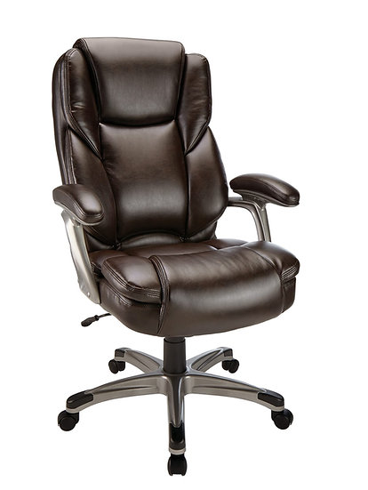 Realspace Cressfield HighBack Leather Chair Brown/Silver
