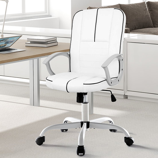 Bonded Leather Computer Chair - White
