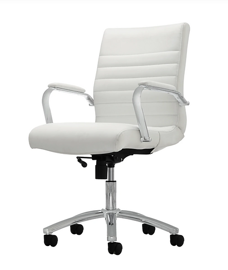 Realspace Winsley Bonded-Leather Mid-Back Manager's Chair (White & Silver)