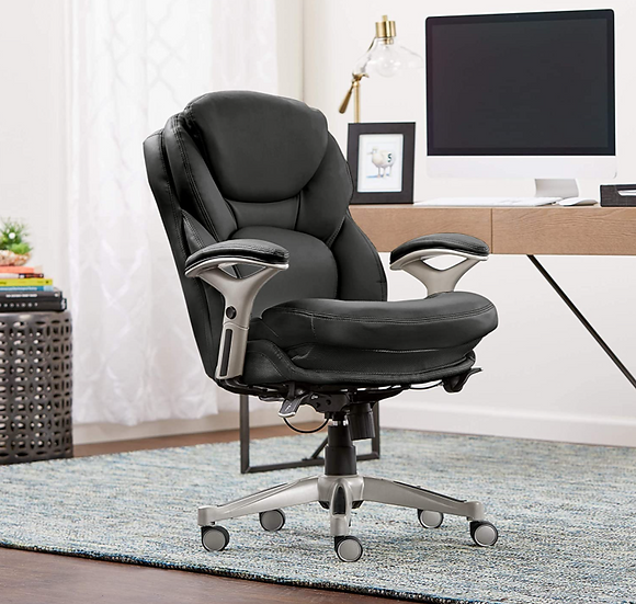 Serta® Smart Layers Siena Bonded Leather Mid-Back Chair Black