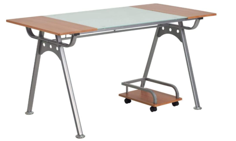 Flash Furniture Computer Desk with Laminate and Glass Top