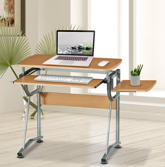 Techni Mobili Compact Computer Desk with Side Shelf (Cherry)
