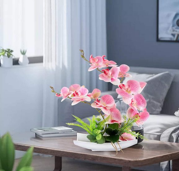 Decorative Silk Orchid Bonsai Artificial Flower w/ Imitation Porcelain Flowerpot