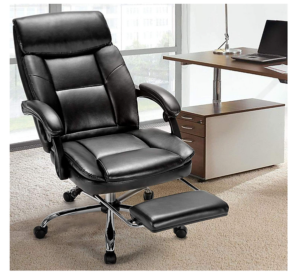 Rimiking Big & Tall Executive High Back Chair with Footrest (Black)