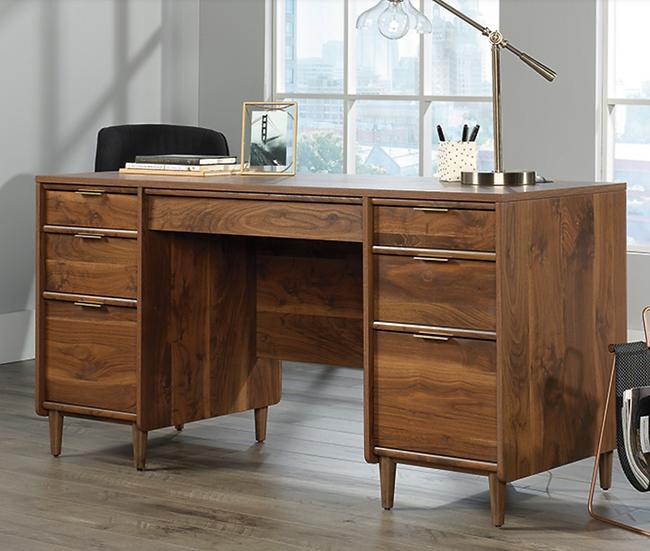 Sauder Clifford Place Mid-Century Desk (Grand Walnut)