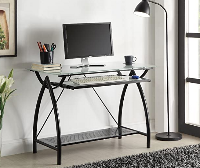 Newport Computer Desk with Frosted Tempered Glass