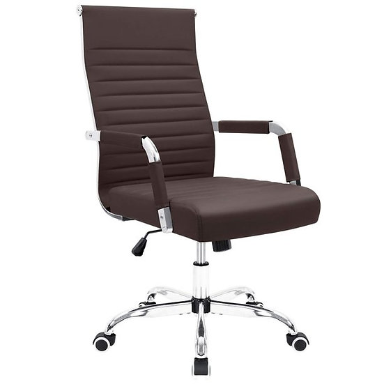 Furmax  Mid-Back Ribbed Office Chair with PU Leather, Brown