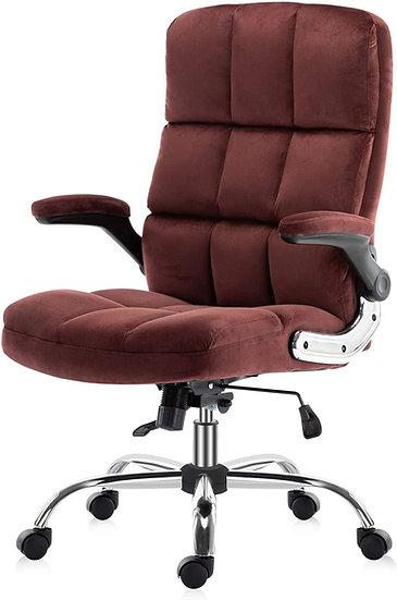 SP Velvet Executive Chair Adjustable Tilt Angle and Flip-up Arms , Lumbar Suppor