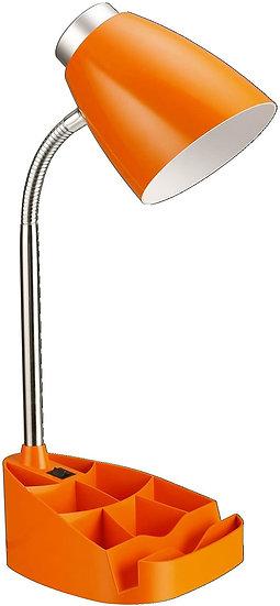 Limelight Gooseneck Desk Lamp with Organizer (Orange)
