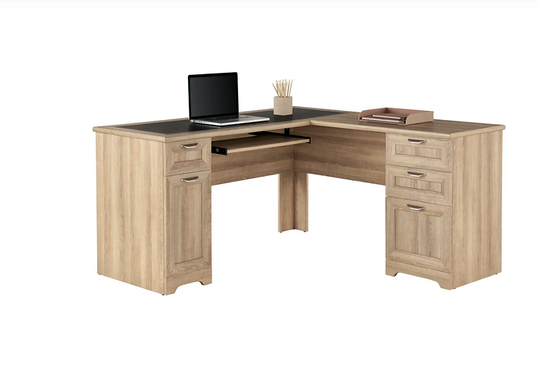 "Realspace® Magellan 59""W L-Shaped Desk (Blonde Ash)"