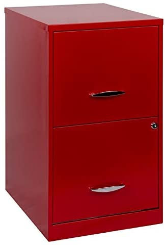 "18"" Deep Red 2 Drawer Filing Cabinet w/lock"