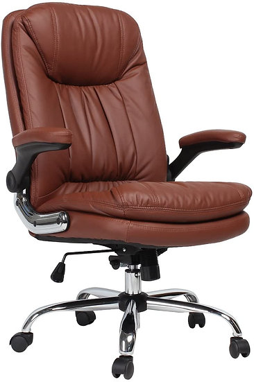 B2C2B Ergonomic  High Back Executive Chair with Flip-Up Arms -Brown