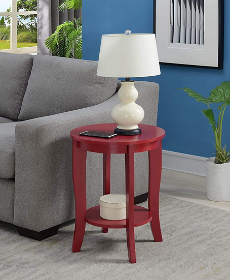 Convenience Concepts American Heritage Round End Table (Cranberry Red)