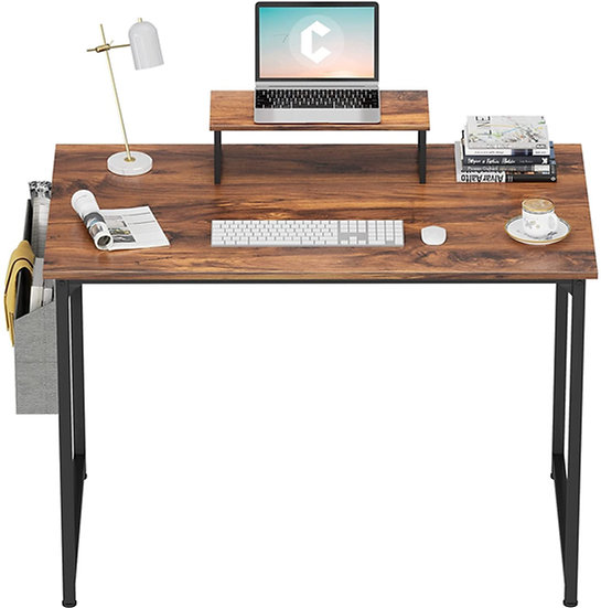 CubiCubi Computer Small Desk, 40 inches with 2 Storage Drawers  Dark Rustic